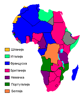 Map showing European claimants to the African continent at the beginning of