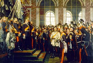 Proclamation of the German Empire in the Hall of Mirrors, 1871.  in white.