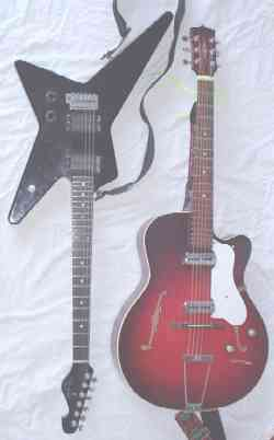 Left: Rosa Hurricane, a -style solid-body guitar.Right:  Freshman, a hollow-body guitar.