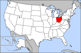 Map of the U.S. with Ohio highlighted
