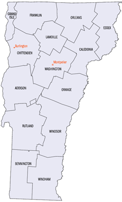 Vermont has 14 counties. Four counties border  in  to the north, and two border  in the south. In the west is  and in the east is , each bordered by five counties each. Only two of Vermont's counties— and —are entirely surrounded by Vermont territory.
