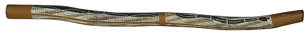 This is an old authentic didgeridoo from  made from , a type of  tree.