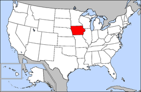 Map of the U.S. with Iowa highlighted