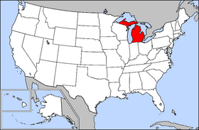 Map of the U.S. with Michigan highlighted