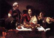 In the Supper at Emmaus,  depicted the moment the disciples recognise their risen lord