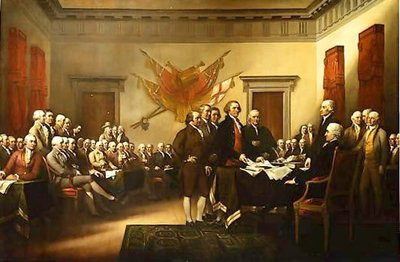 's famous painting depicts the signing of the Declaration. This depiction can also be found on the back of the U.S. .