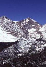 Snowpack accumulation at 14,255 ft. on Longs Peak in Rocky Mountain National Park.