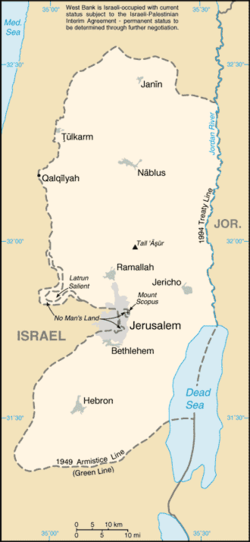 Map of the West Bank in .