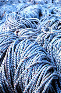 Coils of rope used for long-line fishing