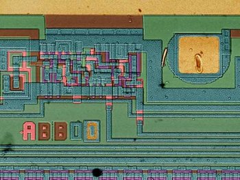 image of an integrated circuit showing defects in the  layer deposition.