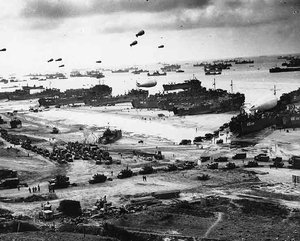 Allied troops land on the beaches of Normandy during