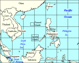 The South China Sea, showing surrounding countries and neighbouring seas and oceans