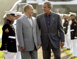 Vladimir Putin with U.S. President George W. Bush.
